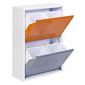 Armario Reciclar 4 Cubos Blanco/Naranja/Gris