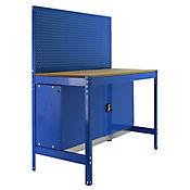 Banco de Trabajo con Panel Click y Almacenamiento Bt2 Locker 1200 Azul/Madera Carga Máx. 600 Kgs