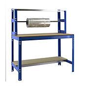 Banco de Trabajo para Embalar + Estantería Bt4 1500 Azul/Madera Carga Máx. 600 Kgs