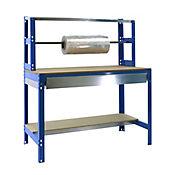 Banco de Trabajo para Embalar + Estantería + Cajón Bt4 Box 1500 Azul/Madera Carga Máx. 600 Kgs