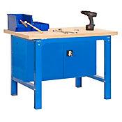 Banco de Trabajo + Almacenamiento Bt6 Plywood Locker 1800 Azul/Madera Carga Máx. 800 Kgs