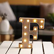 Lámpara Decorativa  Letra F Gris