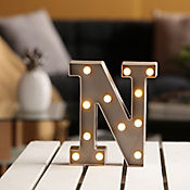 Lámpara Decorativa  Letra N Gris