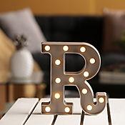 Lámpara Decorativa  Letra R Gris