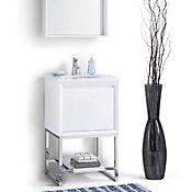 Mueble con Lavamanos 20 Pulg 48.26x53.34x87.63 cm Superficie Mármol de color Blanco de Carrara