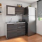 Cocina Integral Acerta 1.20 Metros Tabaco Chic Incluye Mesón Poceta Izquierda Y Estufa 2 Fogones A Gas