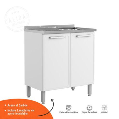 Mueble Inferior para Cocina Alto 89.2cm x 80cm Ancho x 48.3cm Fondo con  Lavaplatos Blanco