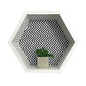 Repisa Rombo Zigzag Negro 29x25 cm