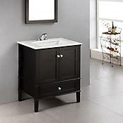 Mueble con Lavamanos Chelsea Negro 30pulg 78.7cm Ancho x 54.6cm Fondo x 88.2 Alto Superficie en Marmol Blanco