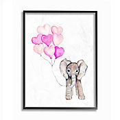 Cuadro de Elefante Bebé con Globo de Corazón Rosa Enmarcado 28x36