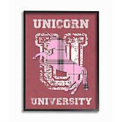 Cuadro Decorativo Unicorn Rosado University Enmarcado 28x36