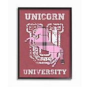 Cuadro Decorativo Unicorn Rosado University Enmarcado 41x51