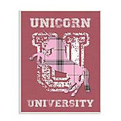Cuadro Decorativo Unicorn Rosado University Placa 25x38