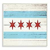 Cuadro Decorativo Bandera Chicago Aspecto Madera 25x38