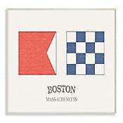 Cuadro en Lienzo Bandera Náutica Boston Placa 25x38