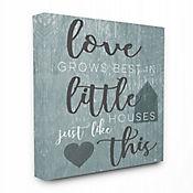 Cuadro en Lienzo Love Grows Best Little Houses Gris 61x76