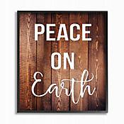 Cuadro en Lienzo Peace On Earth Tipo Madera Enmarcado 28x36