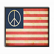 Cuadro en Lienzo Paz Bandera Estados Unidos Enmarcado 28x36