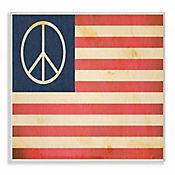 Cuadro en Lienzo Paz Bandera Estados Unidos Placa 25x38