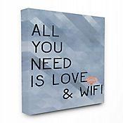 Cuadro en Lienzo All You Need Is Love & Wifi Azul 41x51