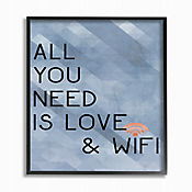 Cuadro en Lienzo All You Need Love & Wifi Azul Enmarcado 28x36