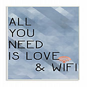 Cuadro en Lienzo All You Need Love & Wifi Azul Placa 25x38
