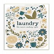 Cuadro en Lienzo Laundry Floral Placa Arte Giclée 25x38