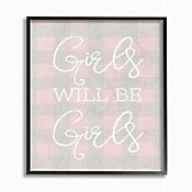 Cuadro en Lienzo Girls Will Be Girls Pink Plaid Enmarcado 28x36
