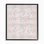 Cuadro en Lienzo Girls Will Be Girls Pink Plaid Enmarcado 41x51