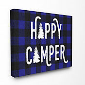 Cuadro en Lienzo Happy Camper Blue Black Plaid 61x76