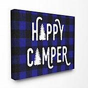 Cuadro en Lienzo Happy Camper Blue Black Plaid 76x102