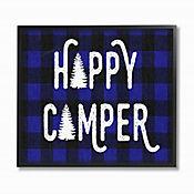 Cuadro en Lienzo Happy Camper Blue Black Enmarcado 28x36