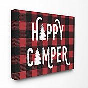 Cuadro en Lienzo Happy Camper Red Black Plaid 41x51