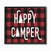 Cuadro en Lienzo Happy Camper Red Black Enmarcado 28x36