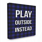 Cuadro en Lienzo Play Out Instead Blue Black Plaid 61x76