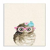 Cuadro Decorativo Woodland Owl Glasses Placa 25x38