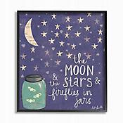 Cuadro en Lienzo Moon Stars Fireflies Enmarcado 41x51
