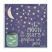 Cuadro Decorativo Moon Stars Fireflies Placa 25x38