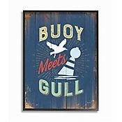 Cuadro en Lienzo Enmarcado Buoy Meets Gull Humor 28x36