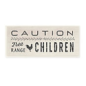 Cuadro Decorativo Caution Free Range Children Placa 18x43