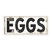 Cuadro Decorativo Eggs Tipografía Vintage Sign Placa 18x43