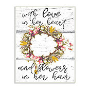 Cuadro Decorativo Love In Her Heart Flowers Placa 25x38