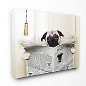 Cuadro en Lienzo Pug Reading Newspaper Bathroom 76x102