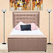 Combo Lujo Advance Pillow Queen 160x190cm Tela Café (Base Cama + Cabecero + Colchón Confort Vital Plus + Puff Baúl 140cm)