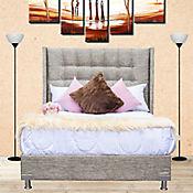 Combo Luxury Doble Pillow King 200x200cm Tela Café (Base Cama + Cabecero + Colchón Confort Vital Primavera Doble Pillow)