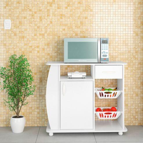 Mueble Microondas y Frutero 80x90x45cm Blanco