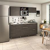 Cocina Integral Berlín 1.80 Metros Cenizo Incluye Mesón Izquierdo Con Estufa 4 Fogones A Gas