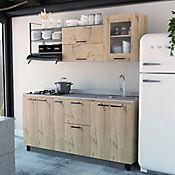 Cocina Integral Carmen 1.80 Metros 3 Cajones Ónix Incluye Mesón En Montelli, Lavaplatos Y Estufa Haceb 4 Puestos A Gas