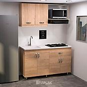 Cocina Integral Ámbar 1.50 Metros 6 Puertas 1 Cajón Incluye Mesón Con Lavaplatos Y Cubierta Esmaltada 4 Puestos A Gas Negro