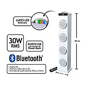 Amplificador Tipo Torre 30 Wrms Bluetooth Luces LED